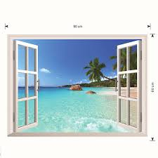 3d Hawaii Holiday Seaview Beach Window View Decal Wall Sticker Alexnld Com