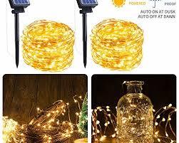 outdoor solar string lights 2 pack