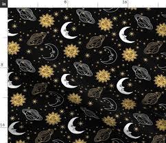 sun moon stars black spoonflower
