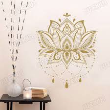 Wall Decal Lotus Flower Yoga Indian Mandala Vinyl Sticker Art Decor Cf