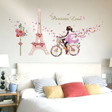 Removable Flower Fairy Girl Bicycle Wall Sticker Princess Cycling Eiffel Tower Butterfly Kids Room Decor Child Bedroom Gift Qt47 Kids Bedroom Bajby Com Is The Leading Kids Clothes Toddlers Clothes