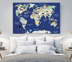 60539 Animal World Map Wall Art Canvas Print Animal World Map For Extra Large Wall Art Canvas Print
