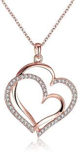 heart pendant necklace rose gold plated