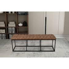 Shop Carbon Loft Deangelo Brown Faux Leather Decorative Bench On Sale Overstock 20565786
