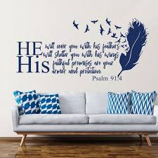 Bible Verse Wall Decals Quotes He Will Cover You With His Feathers Christian Psalm 91 4 Wall Decal Viny Home Bedroom Decor Z963 Wall Stickers Aliexpress