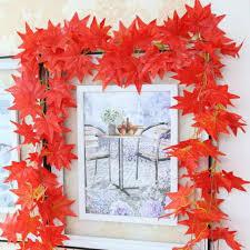 2 3m Trendy Red Autumn Leaves Garland Maple Leaf Vine Fake Foliage Home Decor For Sale Online Ebay