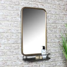 antique bronze wall mirror shelf