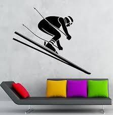 Wall Decal Downhill Skiing Alpine Winter Sport Vinyl Stickers Art Mural Ig2601 Ebay