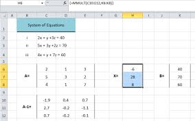 solve the system of equations in excel