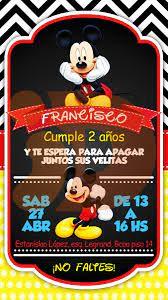 Tarjeta Invitacion Cumpleanos Digital Mickey Mouse Whatsapp 160 00 En Mercado Libre