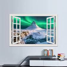 Beautiful Aurora And Snow Picture Sticker Decal Vinyl Mural Wallpaper 3d Window View Removable Wall Sticker Pvc Bedroom Decor Wall Stickers Aliexpress