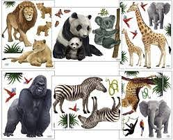 Amazon Com Small Safari Animal Wall Decals 30 Jungle Animal Wall Stickers For Kids Room Decor 6 8 5 X 11 Sheets Of Precut Decals Arts Crafts Sewing