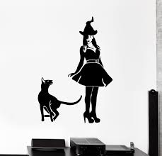 Wall Decal Witch Cat Pet Animal Halloween Witchcraft Vinyl Sticker Ed Wallstickers4you
