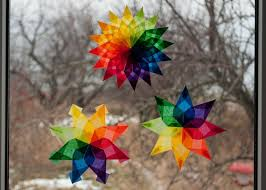 Waldorf Window Stars Set 3 Rainbow Stars Christmas Decals Etsy