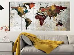 World Map Art World Map Canvas Large World Map World Map Wall Art Abstract World Map Abstract Map Art Watercolor World Map Watercolor Map
