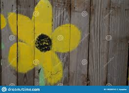 Flower Painted On Wooden Fence Stock Image Image Of Great Room 159284741