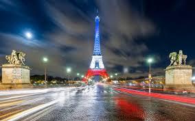 تحميل خلفيات برج إيفل باريس علم فرنسا مساء أضواء المدينة