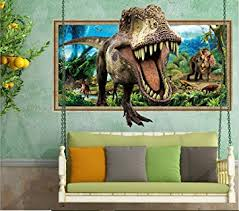 Wall Sticker 3d Cartoon Dinosaur Decals For Kids Home Room Decors Mural Stickers Poster Amazon Com