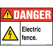 Danger Electric Fence Sign With Icon Ansi