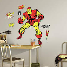Roommates 5 In X 19 In Classic Iron Man Comic 18 Piece Peel And Stick Giant Wall Decal Rmk3252gm The Home Depot