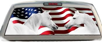 Amazon Com Crabtree Signs American Flag White Horses 22 Inches By 65 Inches Rear Window Graphics Automotive