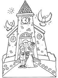 Kleurplaat Trouwen Huwelijk Bruidspaar Kleurplaten Nl