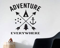 Adventure Is Everywhere Car Camping Vinyl Wall Decal Home Decor Anchor Pine Tree Stars Teepee Vinyl Wall Decals Vinyl Wall Wall Decals