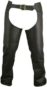 men s double stitched leather chaps