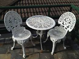 table 2 chairs white cast iron outdoor