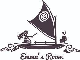 Moana Boat Sailing Disney Cartoon Customized Wall Decal Custom Vinyl Wall Art Personalized Name Baby Girls Boys Kids Bedroom Wall Decal Room Decor Wall Stickers Decoration Size 15x30 Inch