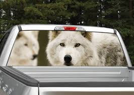 Wolf Wolves Rear Window Graphic Decal Perforated Etsy
