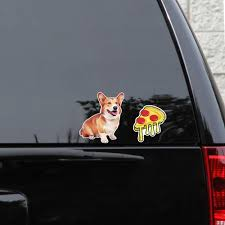 Corgi 2 Sticker Set 5 X 6 Pet Dog Weatherproof Window Vinyl Sticker Decals For Car Or Laptop Spacedust