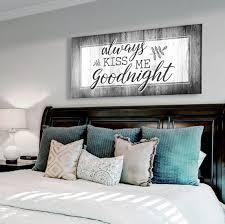 Bedroom Wall Art Always Kiss Me Goodnight V5 Wood Frame Ready To Han Sense Of Art