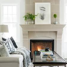 taupe limestone fireplace brick