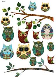 Vintage Owl Collage Ceramic Decals Enamel Decal Fusible Decal Glass Fusing Decal Waterslide Decal 68724 Xpression Decals