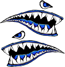 Amazon Com Side Gas Tank Fighter Shark Teeth Blue P 40 3d Gel Motorcycle Gas Tankpad Motorcycle Decal Sticker Kitchen Dining