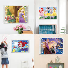 Frozen 2 Snow White Cinderella Belle Aurora Princess 3d Window Wall Stickers Kids Room Home Decor Cartoon Mural Anime Wall Decal Wall Stickers Aliexpress