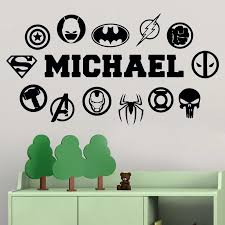 Cool Custom Made Vinyl Stickers Personalized Name Decor Quote Logo Comics Heroes Marvel Nursery Kids Room Bedroom Home Decal Wall Stickers Aliexpress