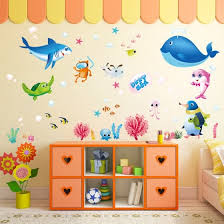 Shop Wall Sticker Colorful Fish Shark Ocean Vinyl Decal Mural Kid S Room Decor Online From Best Wall Stickers Murals On Jd Com Global Site Joybuy Com