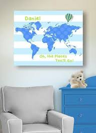 Dr Seuss Nursery Decor Personalized Striped Canvas World Map Kids Room Muralmax Interiors