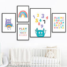 2020 Cartoon Rainbow Alphabet Number Wall Art Canvas Painting Nordic Posters And Prints Wall Pictures For Kids Room Nursery Decor From Cccofficialstore 4 32 Dhgate Com