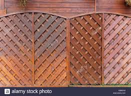 Brown Wood Fencing Panels In Garden Stock Photo Alamy