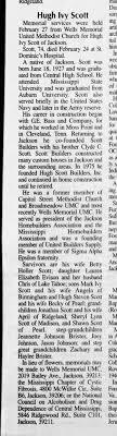obituary for Hugh Ivy Scott - Newspapers.com