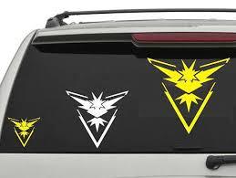Pokemon Go Team Instinct Car Decal Sticker Pokemon Go Team Instinct Car Decals Stickers Team Instinct