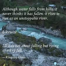 although water falls from quotes writings by kingsley glass