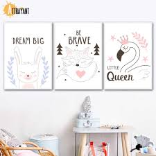 Rabbit Fox Swan Wall Art Canvas Painting Nordic Posters And Prints Wall Pictures For Kids Bedroom Baby Boy Girl Room Home Decor Painting Calligraphy Aliexpress