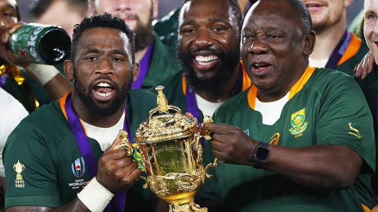 Image result for ramaphosa south africa win rugby world cup against england""