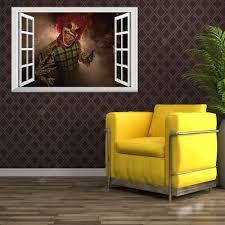 A10 Creative Stereo 3d Fake Window Wall Sticker Halloween Devil Clown Sticker Sale Price Reviews Gearbest