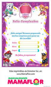 Imprimibles Paw Patrol Para Ninas Invitaciones Invitaciones