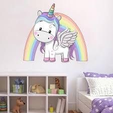 Unicorn Rainbow Wall Sticker Girls Bedroom Wall Art Cute Etsy